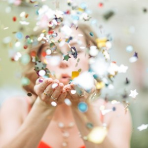 Girl Blowing Confetti (Small)